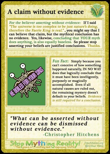 Claim without evidence copy