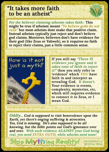 It takes more faith to be an atheist copy
